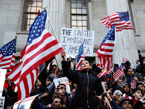 immigrant children with us flags